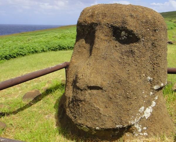 Tête de moai à terre