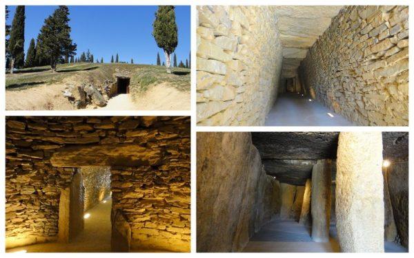 Entrée, couloir d'accès, salle circulaire et salle avec piliers