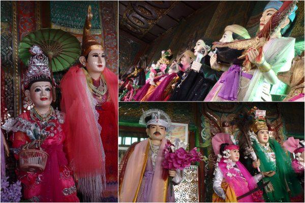 Les burmans prient les nats d'exaucer leurs souhaits en déposant des billets dans leurs mains