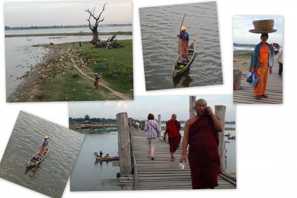 Grande activité sur le pont : le moine téléphone, la femme va au marché .....