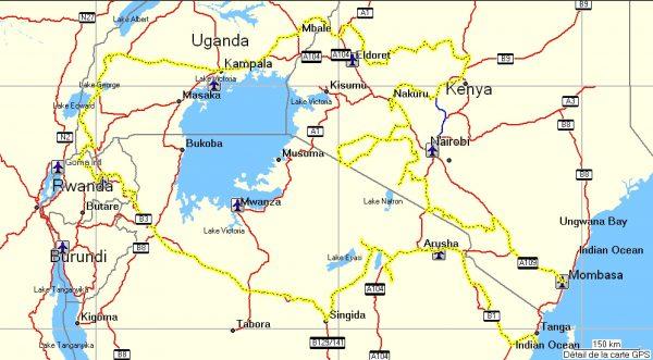 tracé afrique de l'est