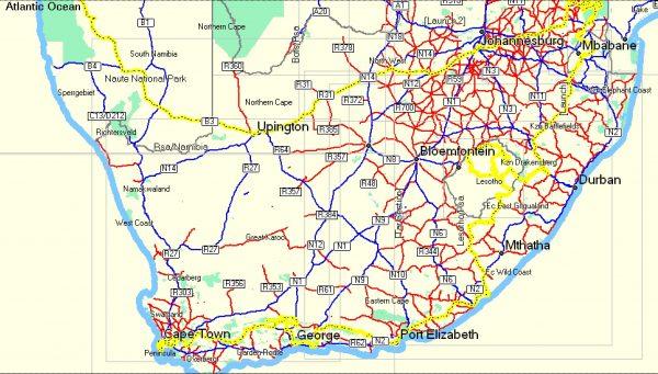 trajet afrique du sud